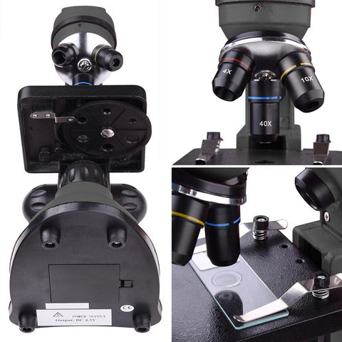 Image of 40x-1000x Lab Compound Microscope with Two Layer Mechanical Stage