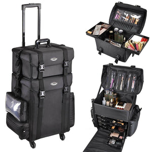 Koval Inc. 2-in-1 Rolling Cosmetic Makeup Case Nylon Black