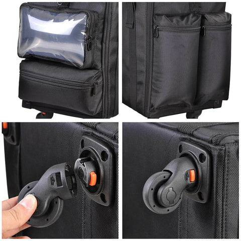 Image of Koval Inc. 2-in-1 Rolling Cosmetic Makeup Case Nylon Black