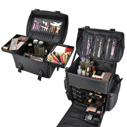 AW 2-in-1 Rolling Cosmetic Makeup Case Nylon Black