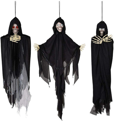 Image of 3pcs Animated Scary Halloween Skeleton Prop Sound Movement Activated Haunted House