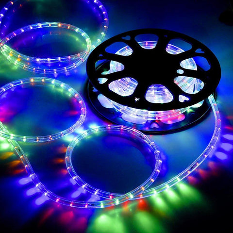 DELight Holiday Lighting LED Rope Light Spool 50ft – Multi Color (RGBY)