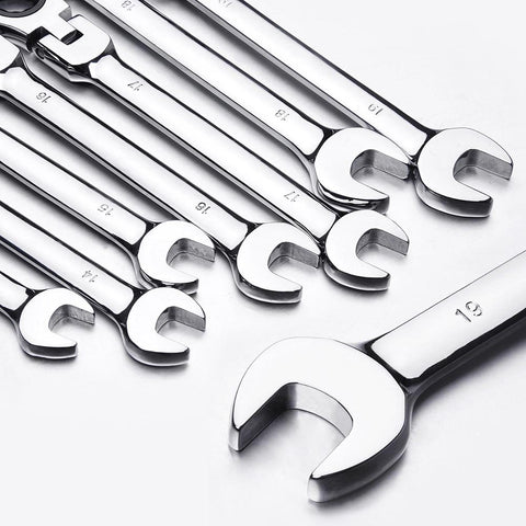 12pc 8-19mm Metric Flexible Head Ratcheting Wrench Combination Spanner Tool Set
