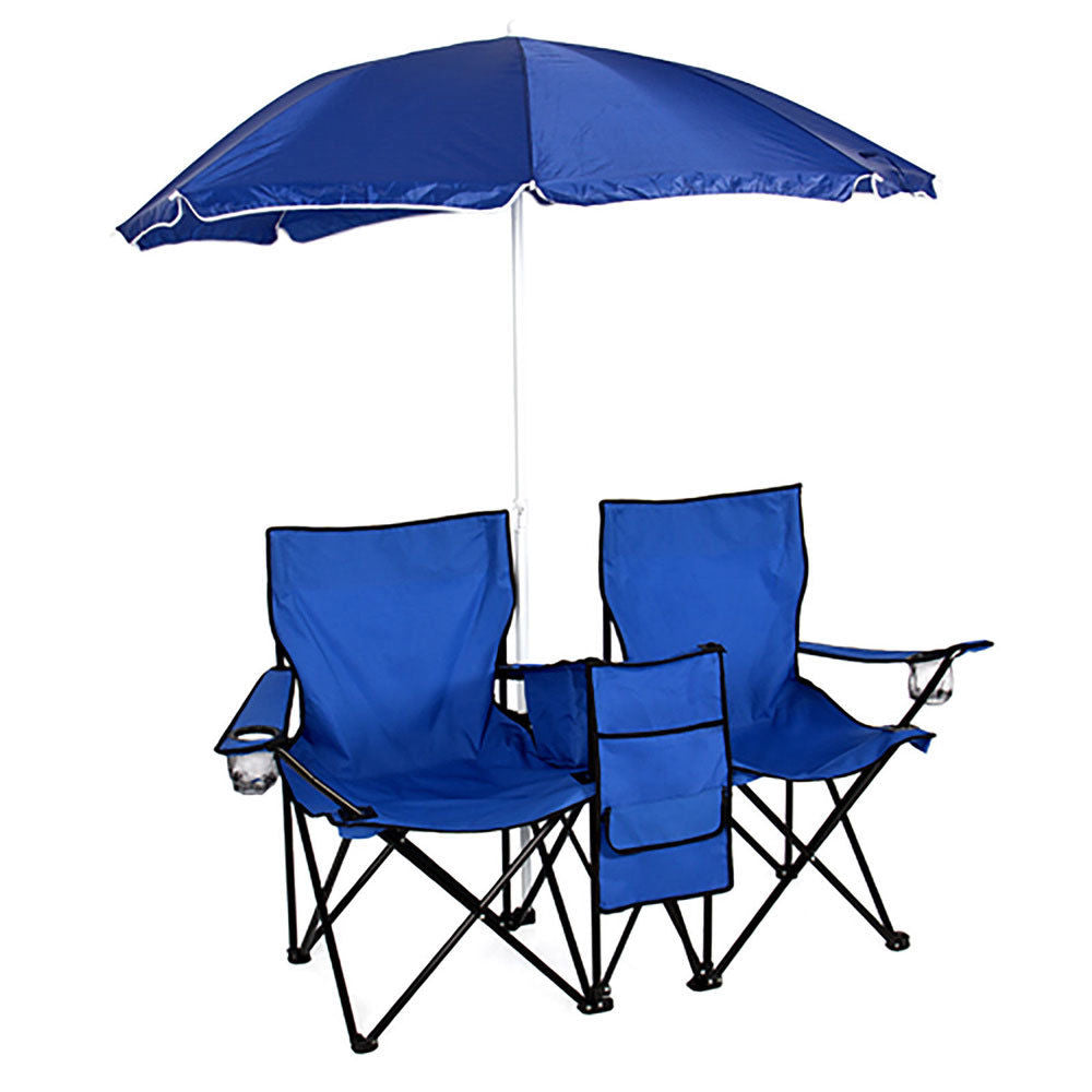 Outdoor-Sports Fold-able Double Chair with Umbrella and Cooler