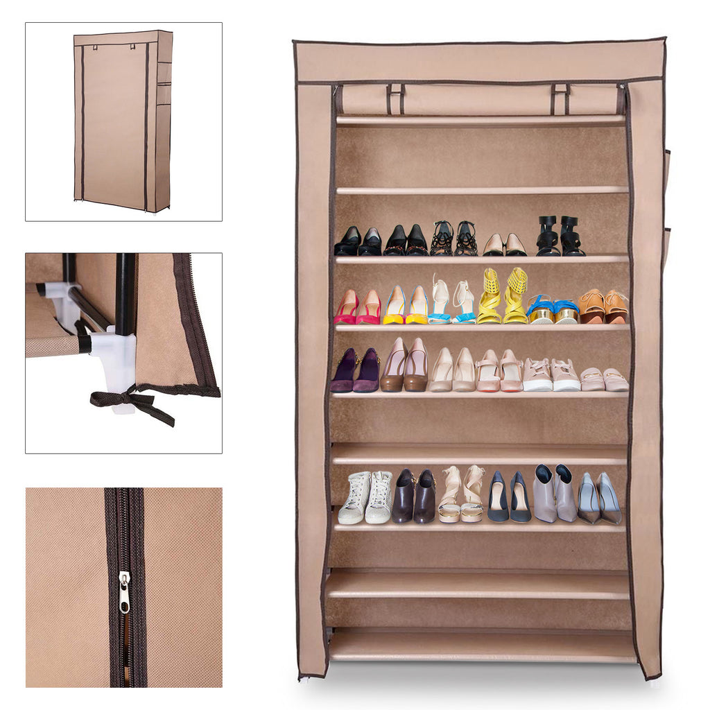 10 Tiers Shoe Rack with Dustproof Cover, Holds 45 Pairs of Shoes