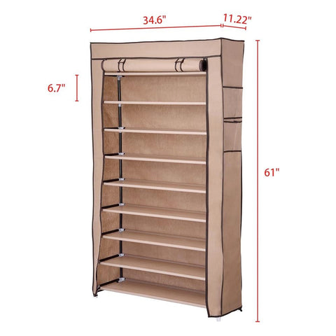 Image of 10 Tiers Shoe Rack with Dustproof Cover, Holds 45 Pairs of Shoes