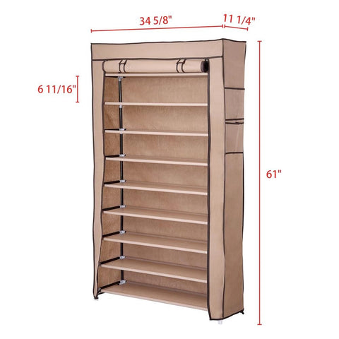 Image of 10 Tiers Shoe Rack with Dust proof Cover, Holds 45 Pairs of Shoes
