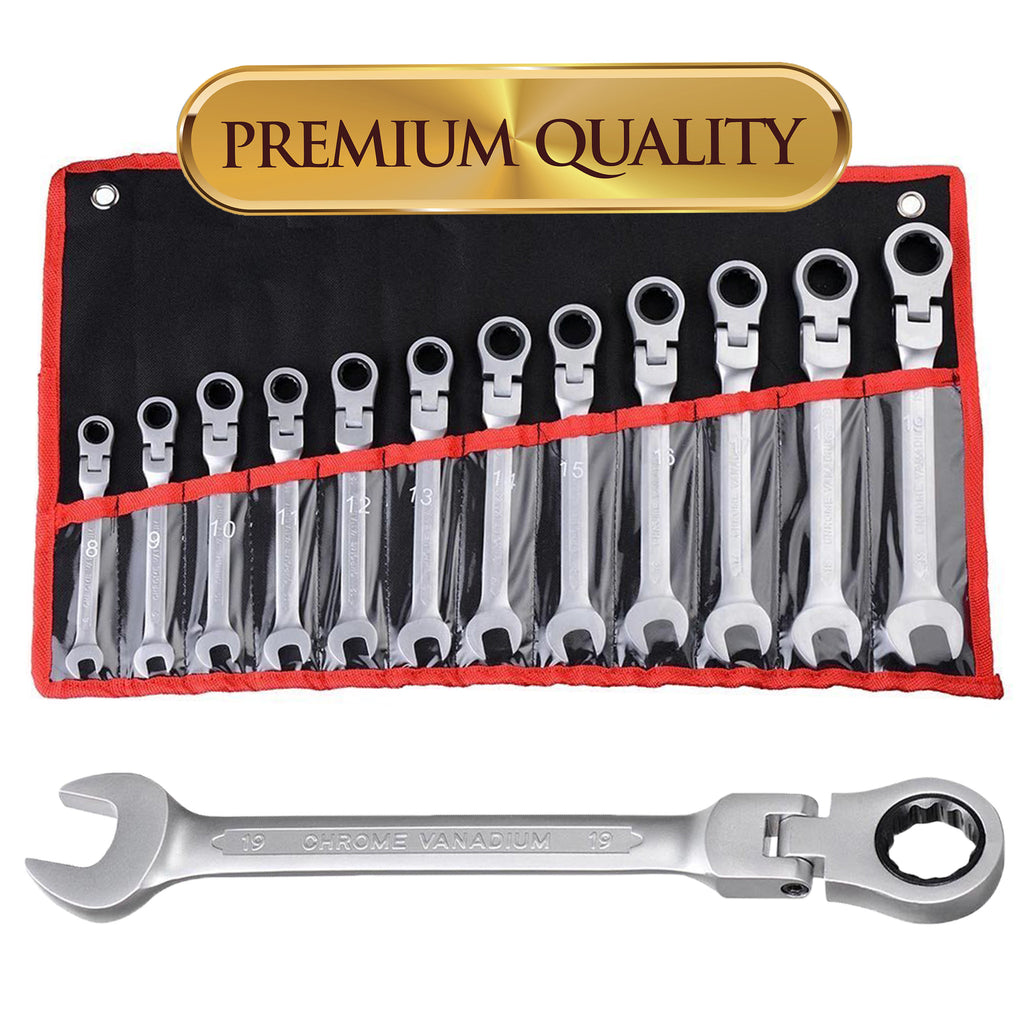 12 pc 8-19mm Flexible Reversible Ratcheting Wrench Spanner Tool Set