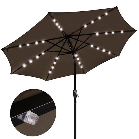 9' Patio Umbrella with Lights Aluminum Pole