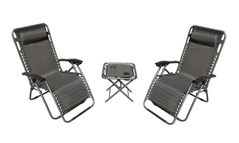 Image of Zero Gravity Chairs and Folding Table with Cup Holder Set (3-Piece)