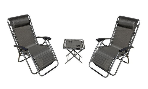 Zero Gravity Chairs and Folding Table with Cup Holder Set (3-Piece)