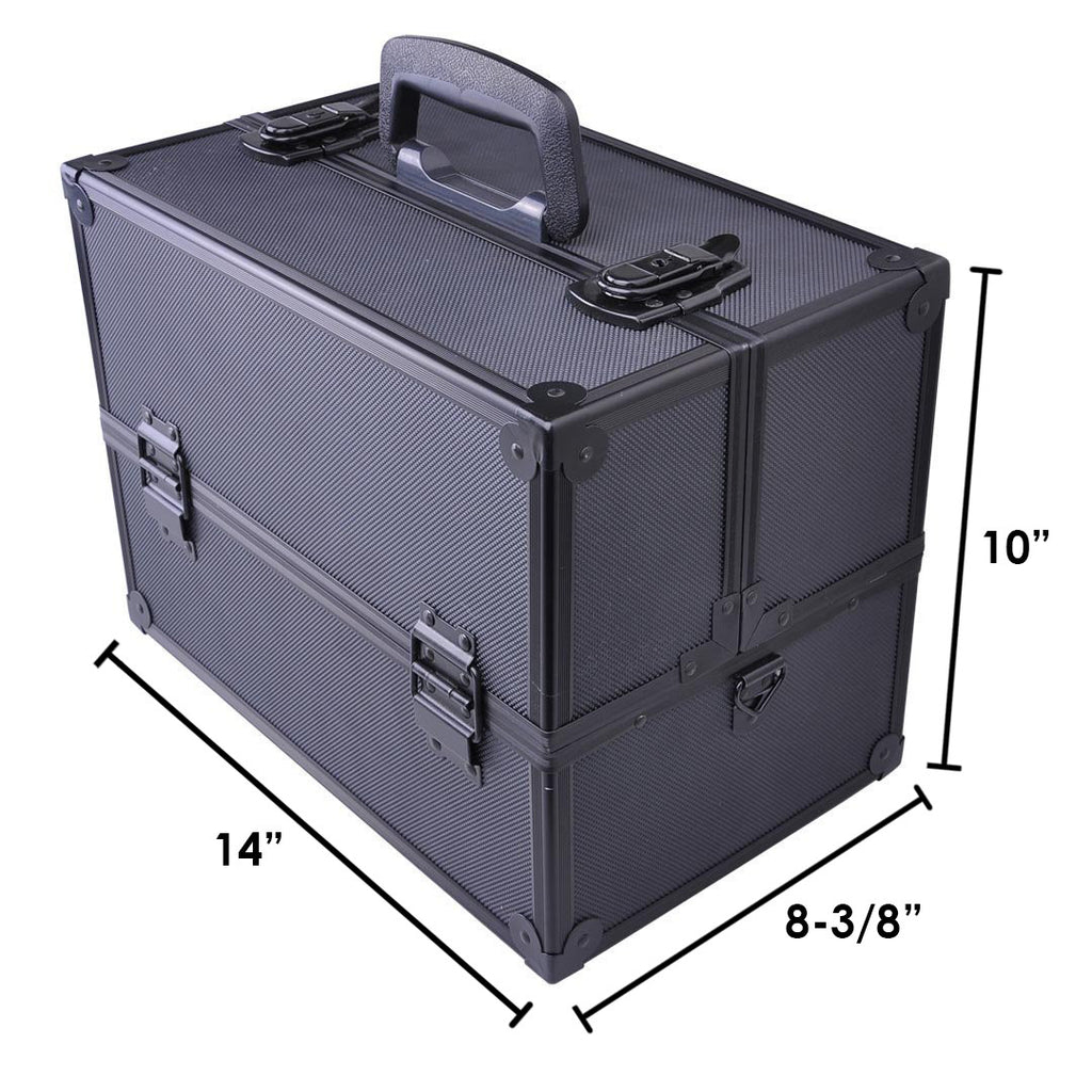 Makeup Train Case-Cosmetic Makeup Organizer w/ Key Lock & Drawer