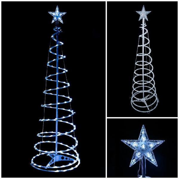 spiral light indooroutdoor christmas trees 5ft 6ft - Cool White Outdoor Christmas Decorations
