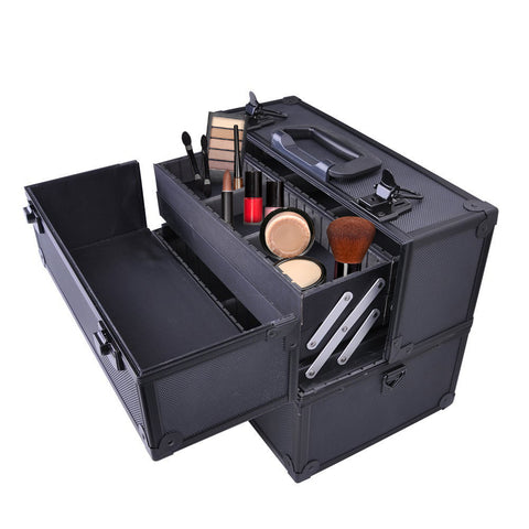 Image of Makeup Train Case-Cosmetic Makeup Organizer w/ Key Lock & Drawer