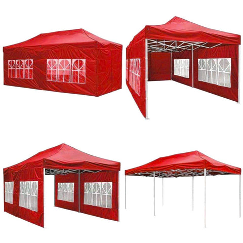 Image of Koval Inc. 10x20 FT Pop Up Canopy Tent with 4 Walls - Red