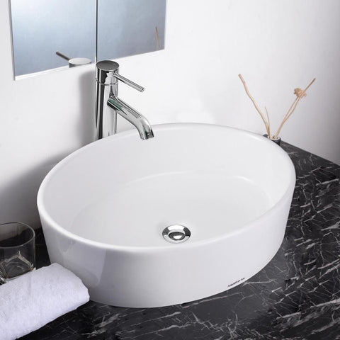 Vanity Sink with Drain - Oval