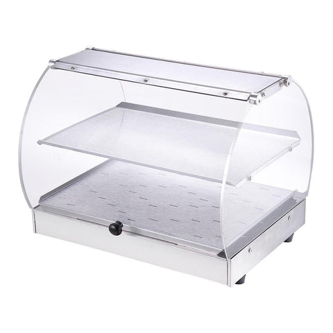 2 Tiers Food Warmer Commercial Curved Countertop Display Cabinet
