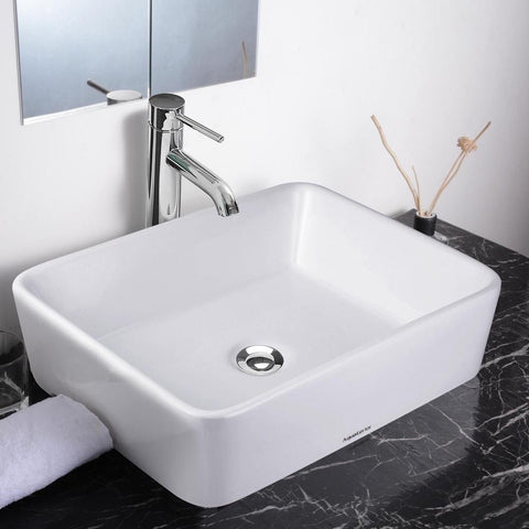 Image of Vanity Sink with Drain - Rectangle
