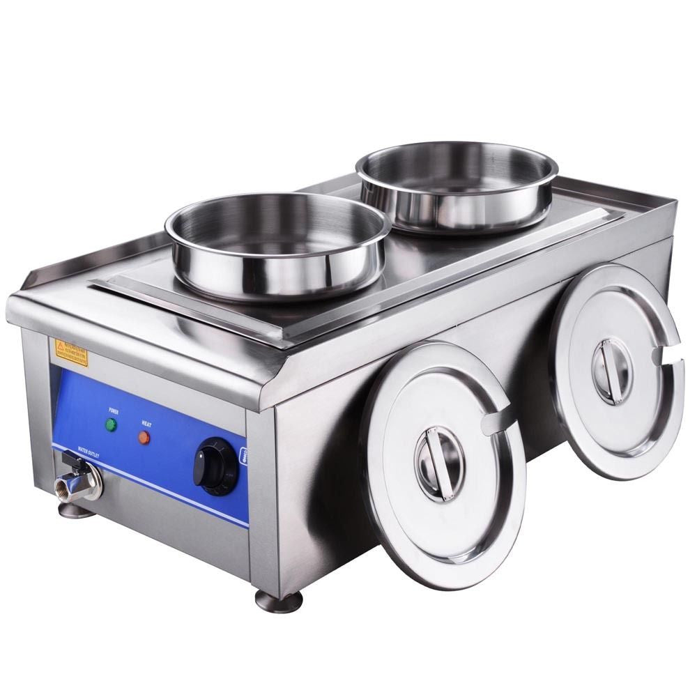 Stainless Steel Dual Countertop Food Warmer For Commercial Soup Station