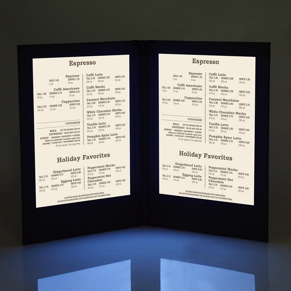 "Backlit Menu Cover - 8"" x 11.5"""