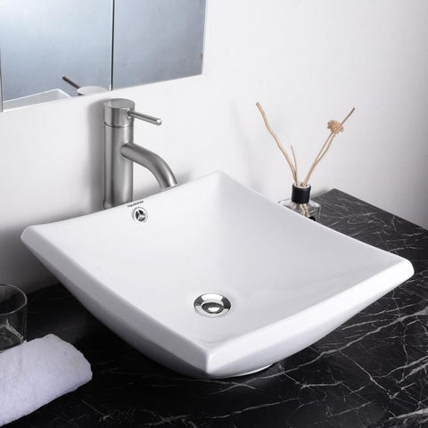 Sunken Vanity Sink with Drain - Square Bowl