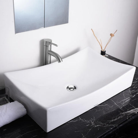 Image of Sunken Vanity Sink with Drain - Rectangle