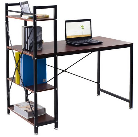 Image of Home Office Desk with 4 Tier Storage Rack