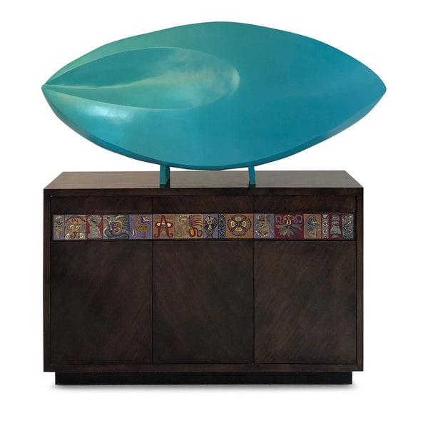 *SOLD* Monumental Teal Painted Abstract Fiberglass Sculpture, circa 1980