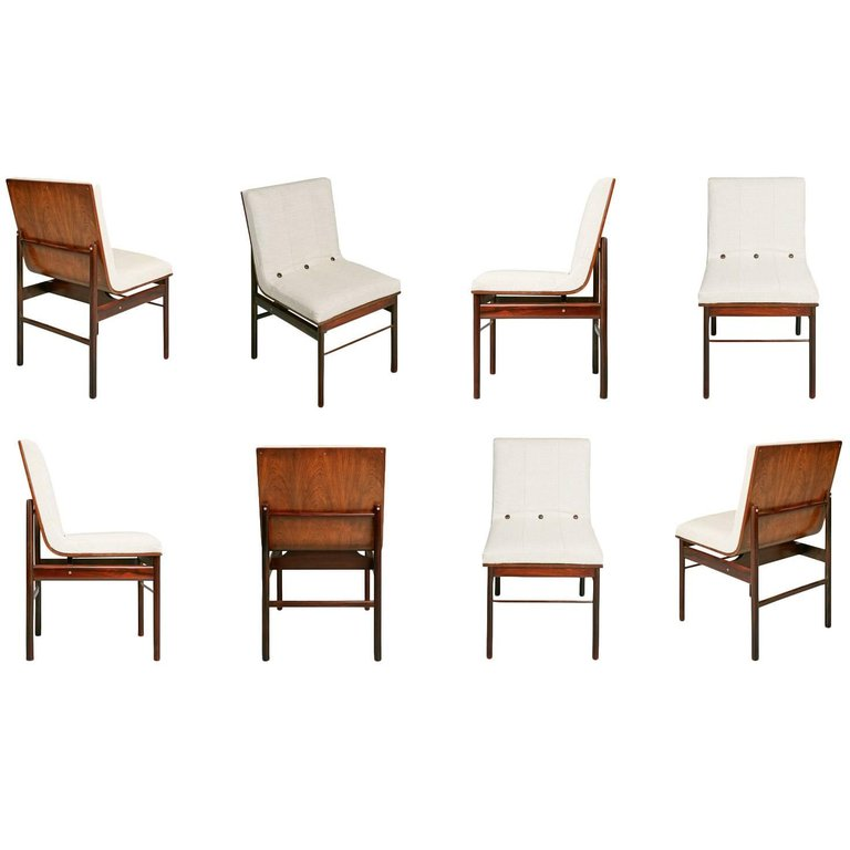 *SOLD* Brazilian Jacaranda and Linen Dining Chairs by Novo Rumo, Set of Eight