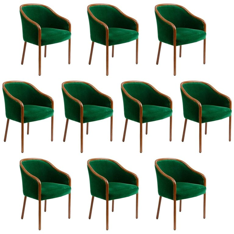 Ward Bennett for Brickell Associates Armchairs, Set of Ten, circa 1970