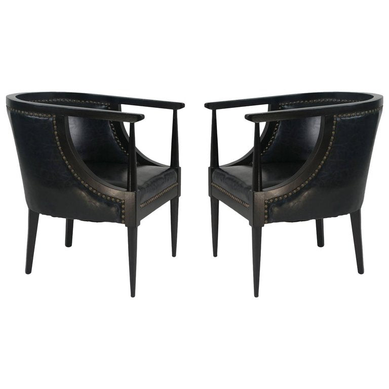 Black Leather Club Chairs with Bronze Nailheads, Pair