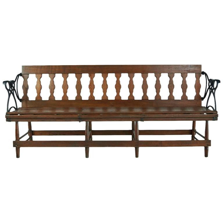 Victorian Wood and Iron Reversible Railway Bench