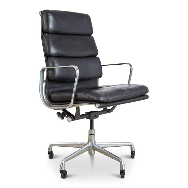 Charles & Ray Eames Leather High Back Soft Pad Executive Chair For Herman Miller