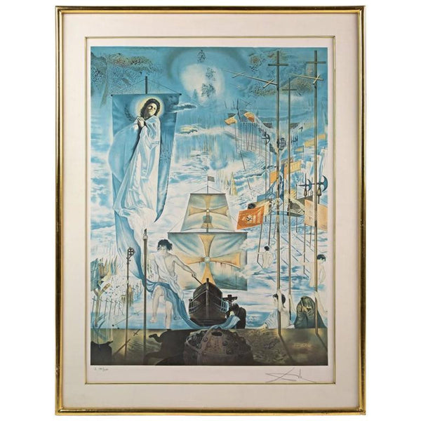 "Salvador Dali Signed Lithograph ""Discovery of America by Christopher Columbus"""