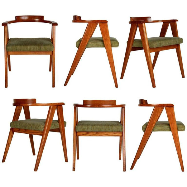 Mid-Century Modern Compass A-Frame Six Dining Chairs