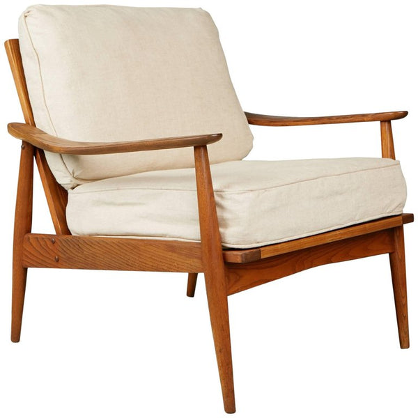 Exotic Wood Grain Mid-Century Modern Lounge Chair, circa 1960