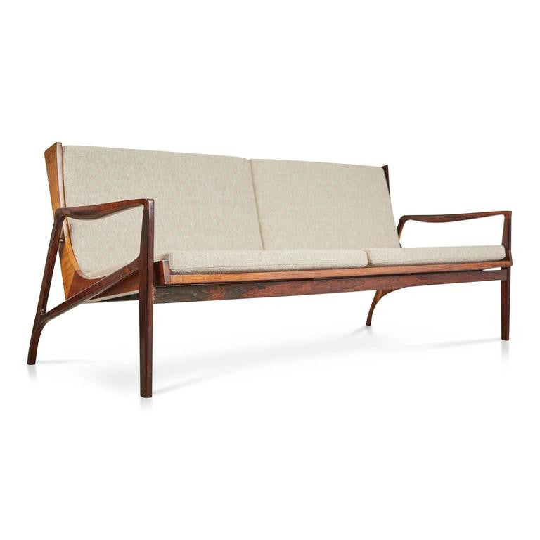 Jacaranda Brazilian Modern Sofa Attributed to Joaquim Tenreiro, Circa 1960