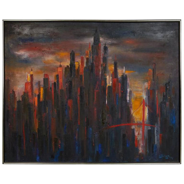 Large Cityscape Skyline Oil Painting, by Dietrich Grunewald for Van Amstel