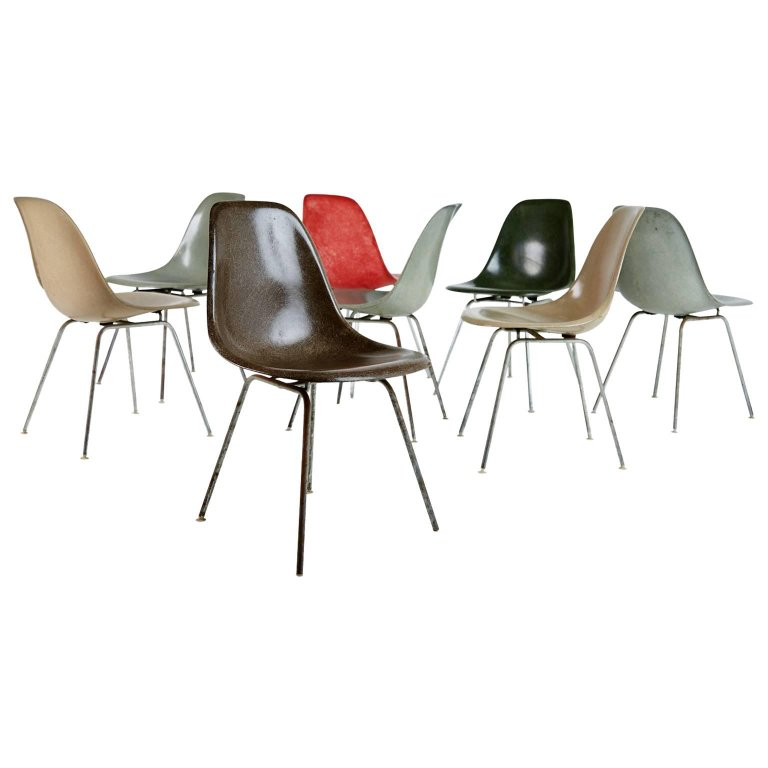 Charles & Ray Eames for Herman Miller Fiberglass DSX Chairs, Early Production