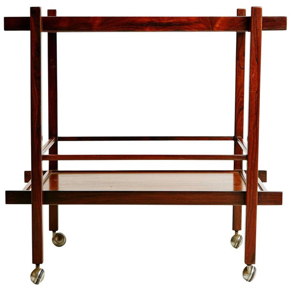Jacaranda Rosewood Brazilian Bar Cart with Removable Tray, circa 1960