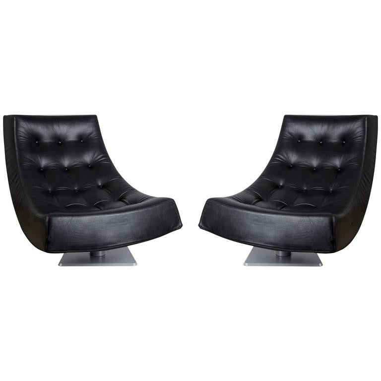 Large Modern Tufted Black Leather Swivel Scoop Lounge Chairs, Pair, circa 1980