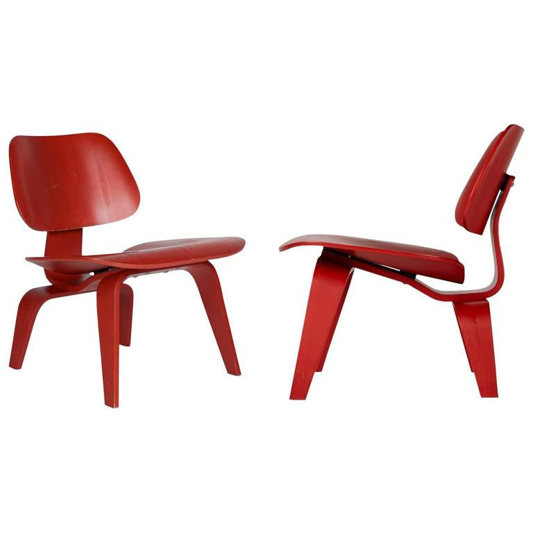 Charles and Ray Eames LCW Lounge Chair for Herman Miller, Set of Two