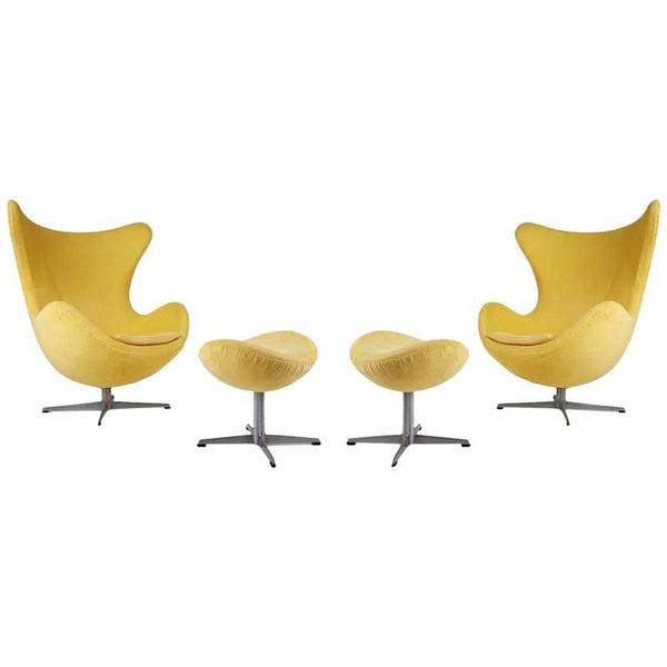 Arne Jacobsen for Fritz Hansen Model 3316 Egg Chairs and Footstools