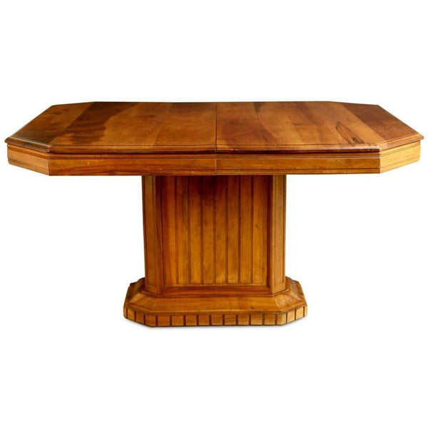 French Walnut Art Deco Dining Table, Newly Restored, circa 1930