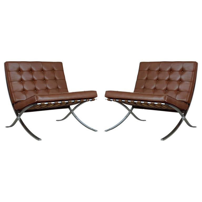 *SOLD* Triple Signed Pair of Barcelona Chairs by Mies Van Der Rohe for Knoll Int, 1978