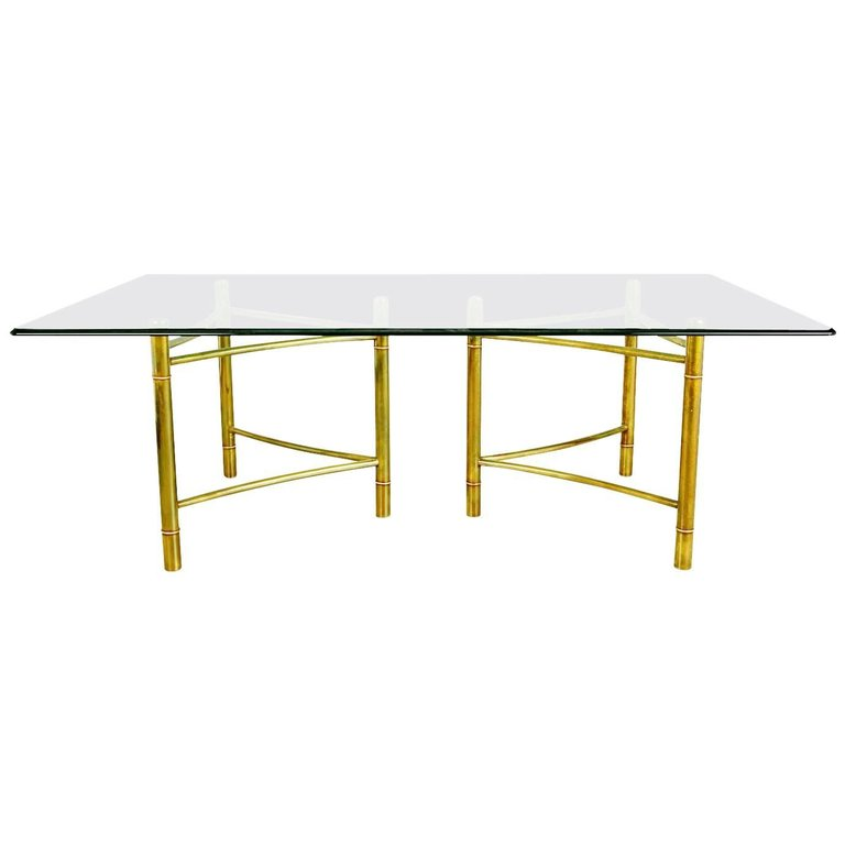 Mastercraft Brass Dining Table with Triangular Bases, circa 1970