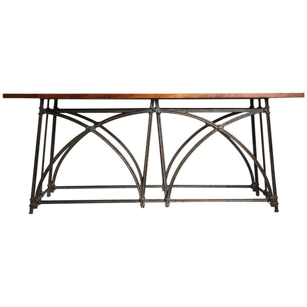 *SOLD* Grand Scrolled Iron and Wood Console Table, circa 1970