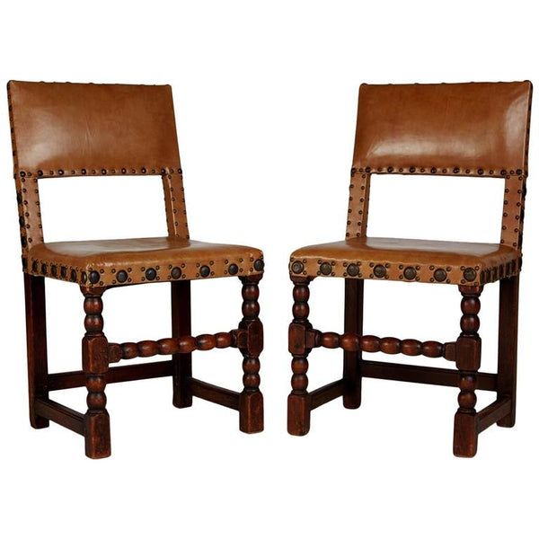 English Cromwellian Tan Leather Oak Side Chairs, circa 1860