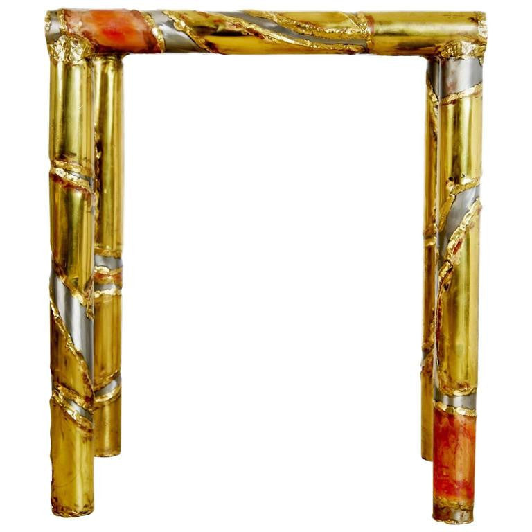 *SOLD* Brutalist Mixed Metal Silas Seandel Console Table & Functional Art Signed, 1982