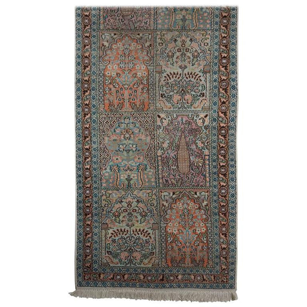 Persian Pale Blue Field Silk Runner